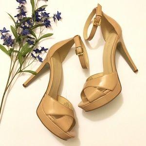 ✨Nine West Nude Pump Heels w/ Ankle Strap